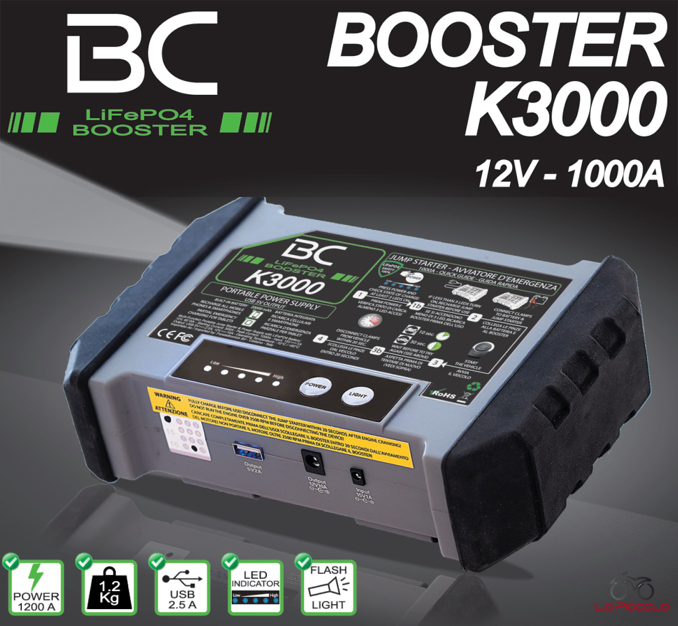 bc k3000 booster avviatore auto moto furgoni caricabatterie emergenza 12v 1000a ebay. Black Bedroom Furniture Sets. Home Design Ideas