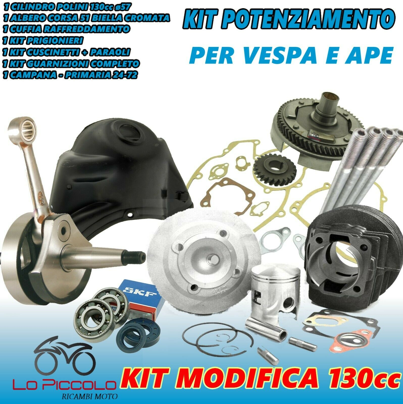 kit modifica cilindro 130 polini albero motore campana cuffia ape vespa 50 pk xl ebay. Black Bedroom Furniture Sets. Home Design Ideas